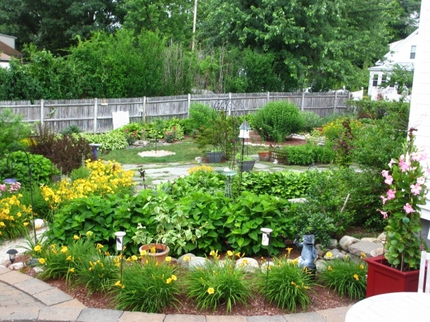 Garden paths lined by Stella d'Oro Daylilies.